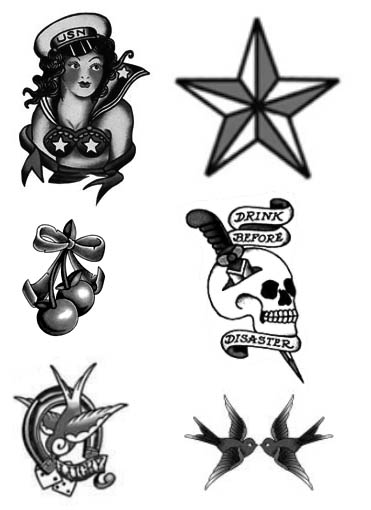 attractive grey ink sailor tattoo design