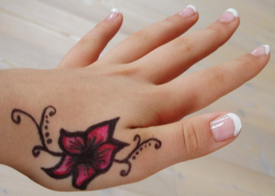 Beautiful Color Flower Hand Tattoo For Girls