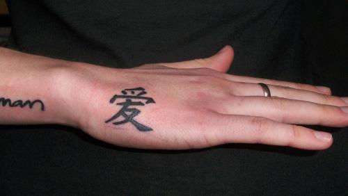 Heart Love Tattoo On Hand