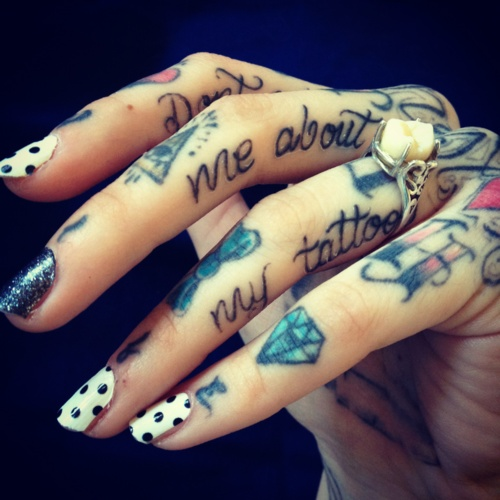 Color ink diamond and lettering hand tattoo for Letter tattoos on hand
