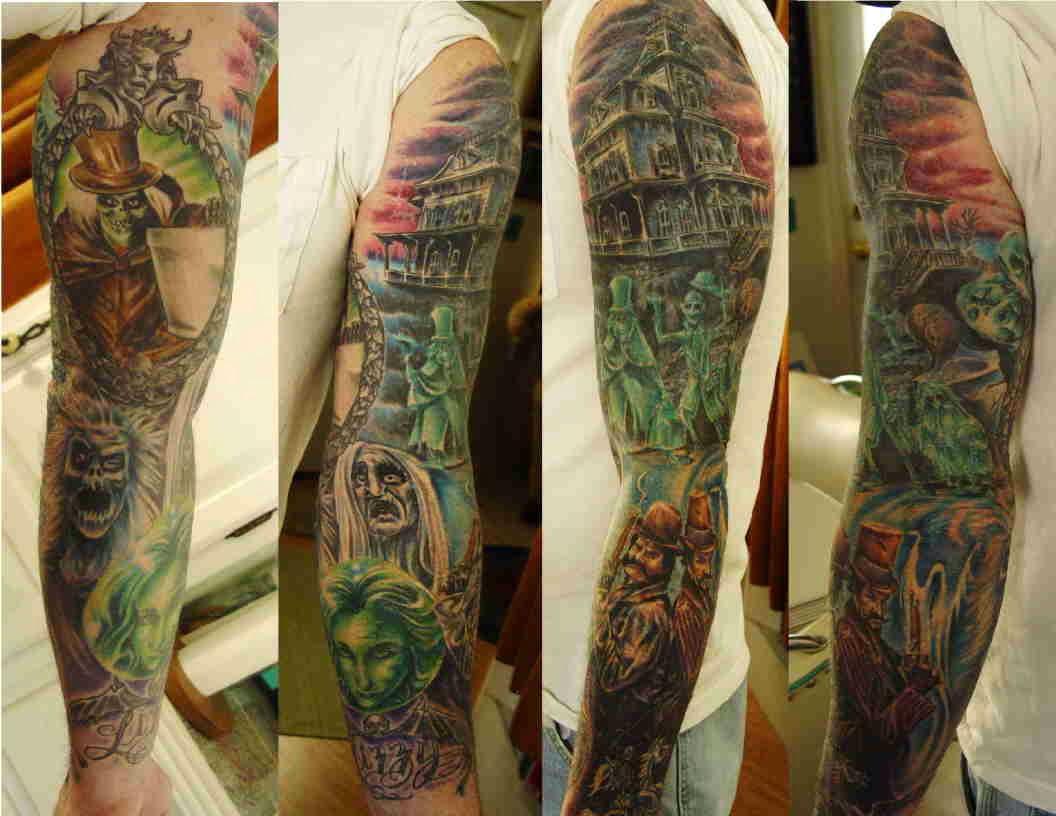best grey ink halloween tattoo on full sleeve