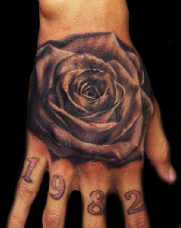 0ab6319c8 Black And Grey Rose Tattoo on Hand