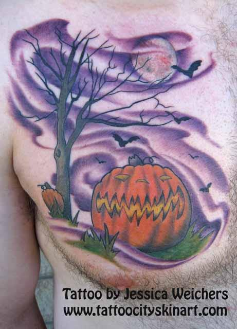 Halloween Tattoo On Man Chest