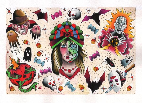 View Cool Halloween Tattoo Ideas Background