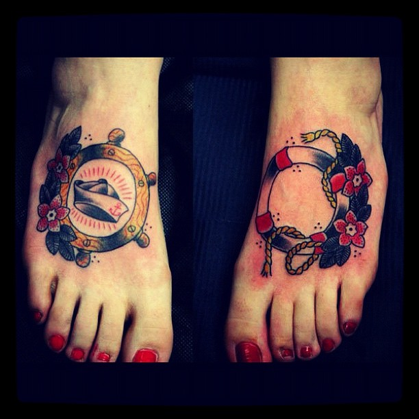 Sailor Tattoos On Girls Both Feet