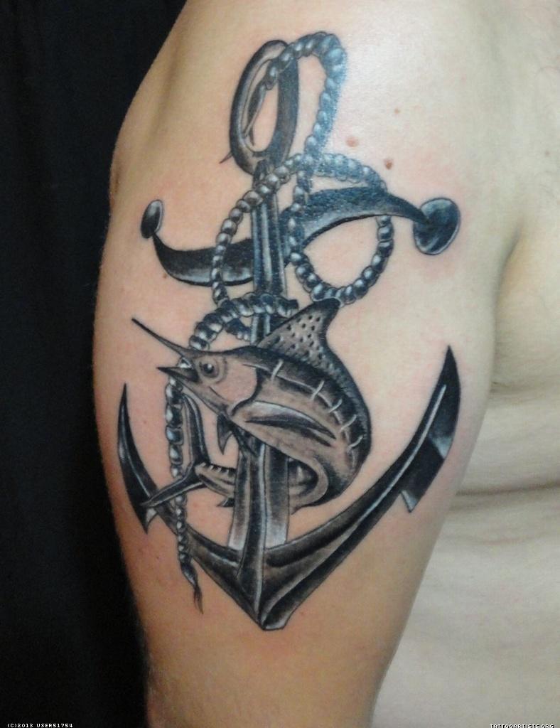 shark and anchor sailor tattoo on right half sleeve