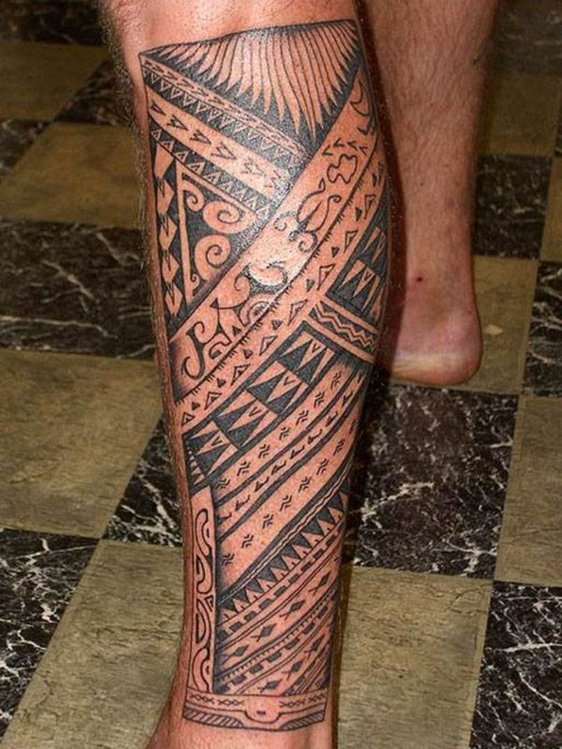 amazing hawaiian tattoo on man left leg. Black Bedroom Furniture Sets. Home Design Ideas