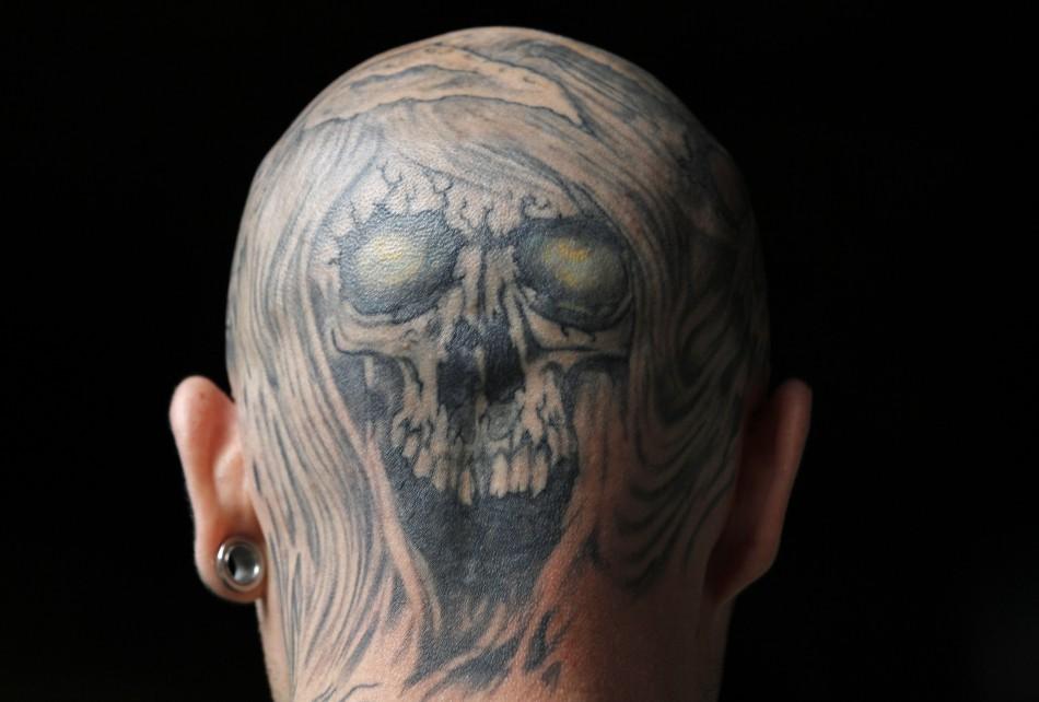 2e926aa77 Attractive Grey Ink Skull Back Head Tattoo