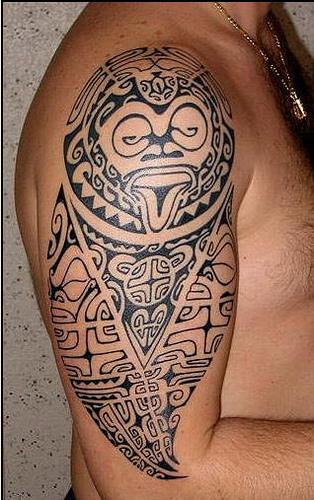 Awesome Grey Ink Tribal Hawaiian Tattoo On Right Half Sleeve