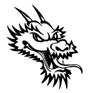 Black Ink Dragon Head Tattoo Design