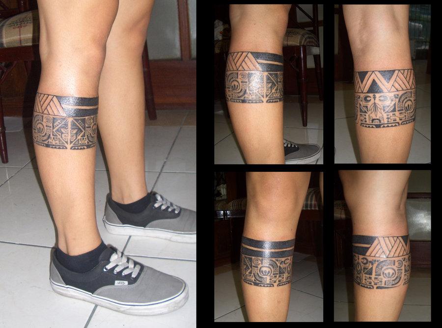 Hawaiian leg band tattoos