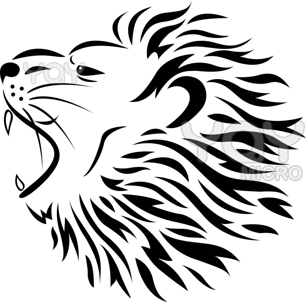 Black Ink Tribal Lion Head Tattoo Design