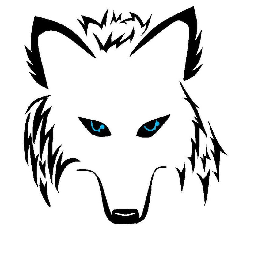 Blue Ink Moon And Wolf Head Tattoo On Left Back Shoulder