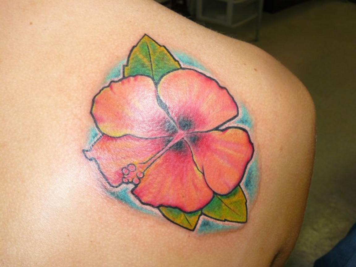 Blue ink flower hawaiian tattoo on shoulder color hawaiian flower tattoo on right back shoulder izmirmasajfo Choice Image