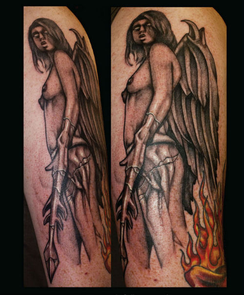 Fallen Angel Sleeve Tattoo Images & Designs