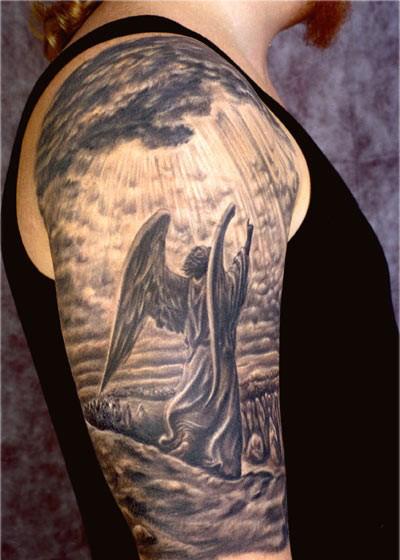 Fallen Angel Sleeve Tattoo Images & Designs