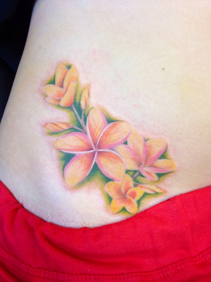 Hawaiian Flowers Tattoo On Side For Girls