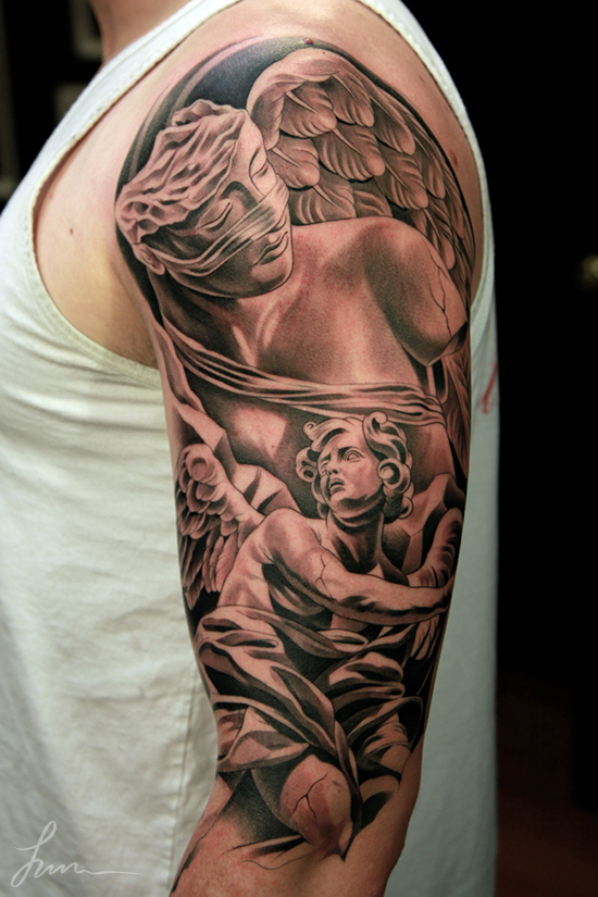 Fallen angel sleeve tattoo images designs for Angel half sleeve tattoo