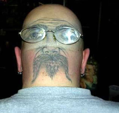 Nice Face Back Head Tattoo