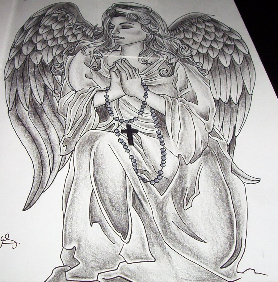 Praying Angel Tattoo Drawings Images amp Designs