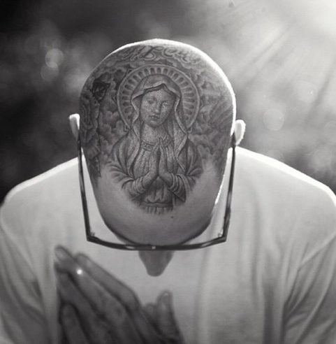 Praying Virgin Marry Head Tattoo For Men