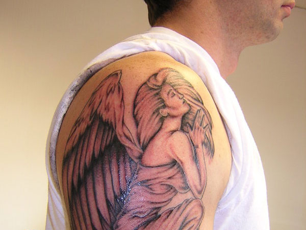 praying angel tattoo images designs. Black Bedroom Furniture Sets. Home Design Ideas