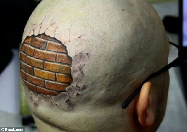 Ripped Skin Bricks Head Tattoo For Men