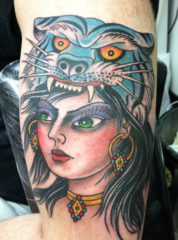 Head tattoo images designs for Traditional panther tattoo
