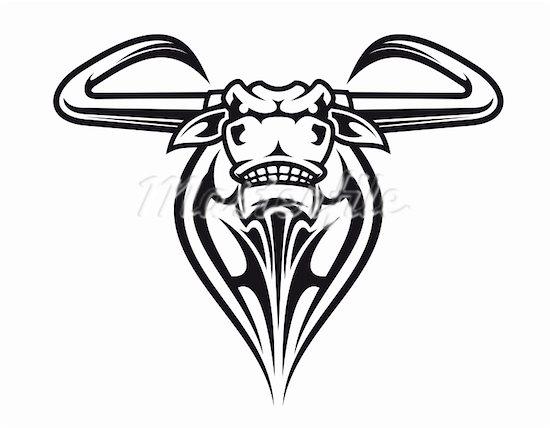 Tribal Bull Head Tattoo Design