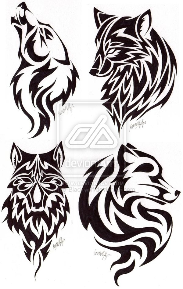 Head tattoo images designs for Tribal wolf tattoo