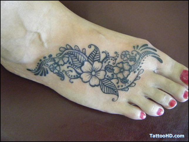 Henna Tattoo On Girl Right Foot