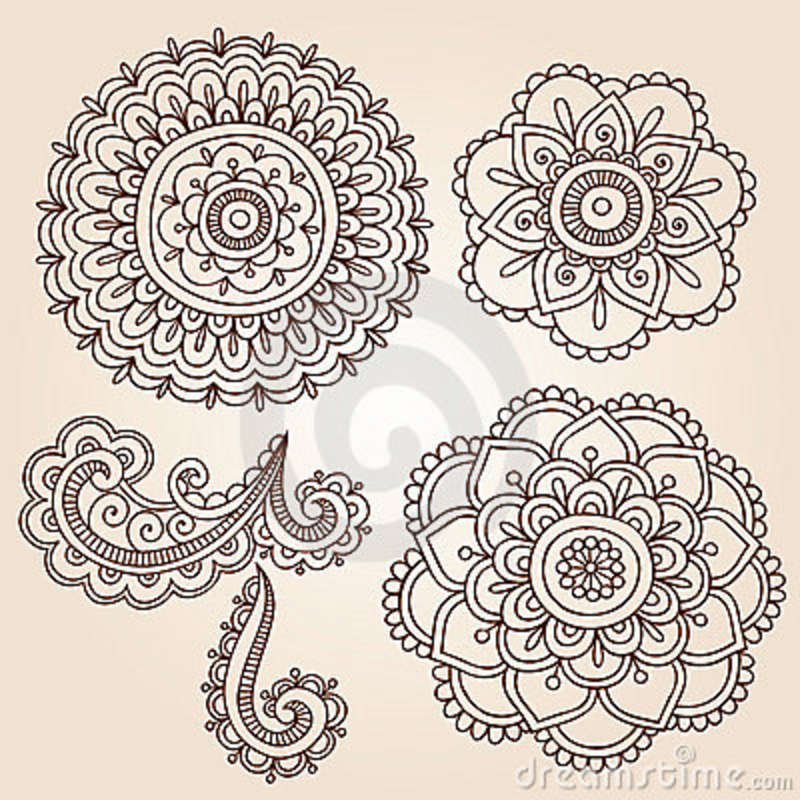 Henna Mandala Flowers Tattoos Designs