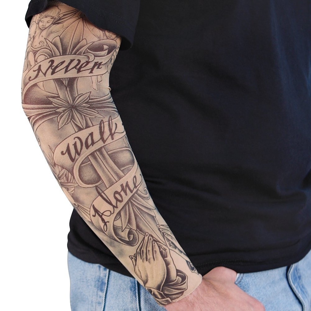 Grey Ink Banner And Henna Tattoo On Right Sleeve