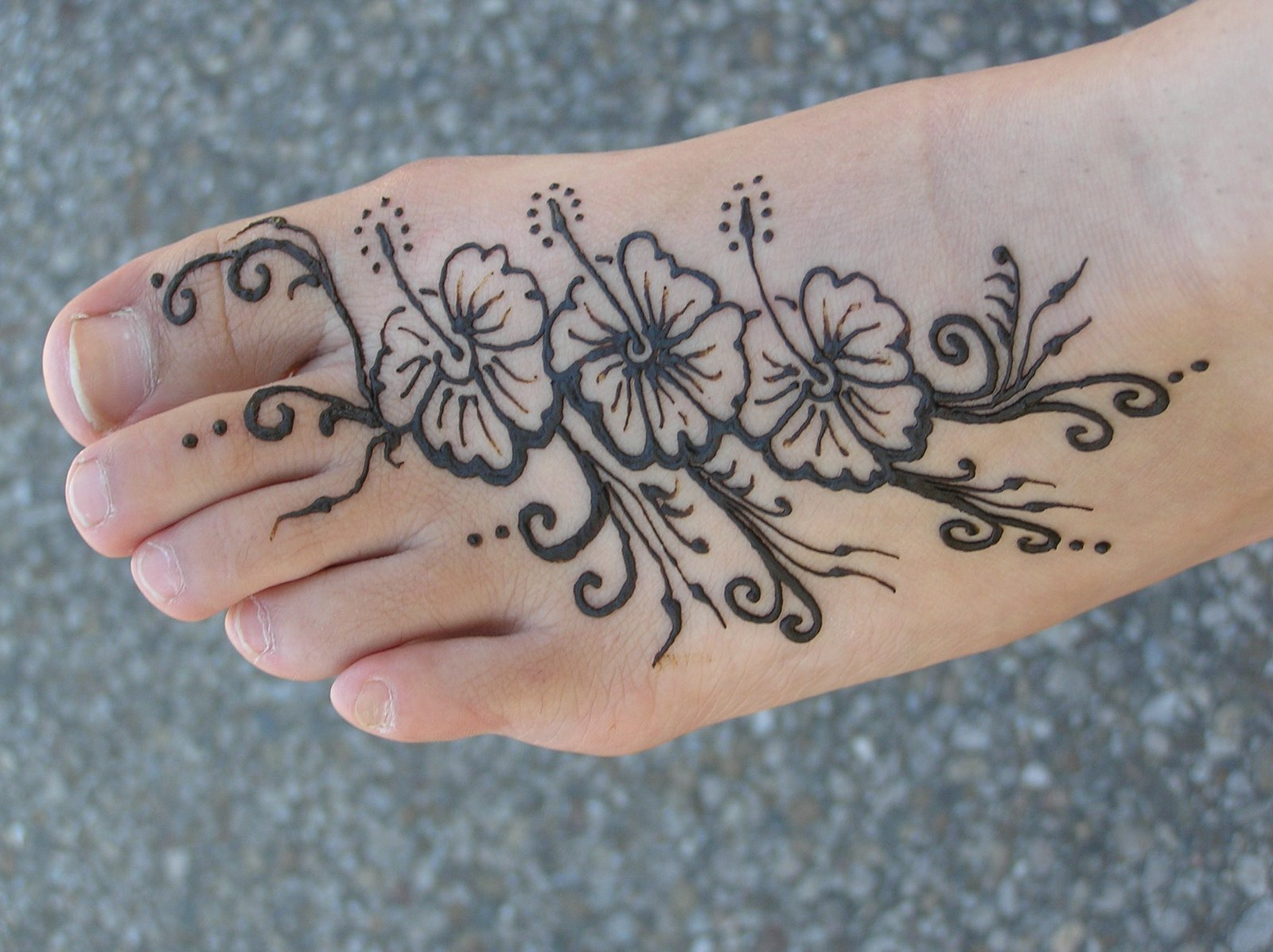 Henna Flowers Foot Tattoo