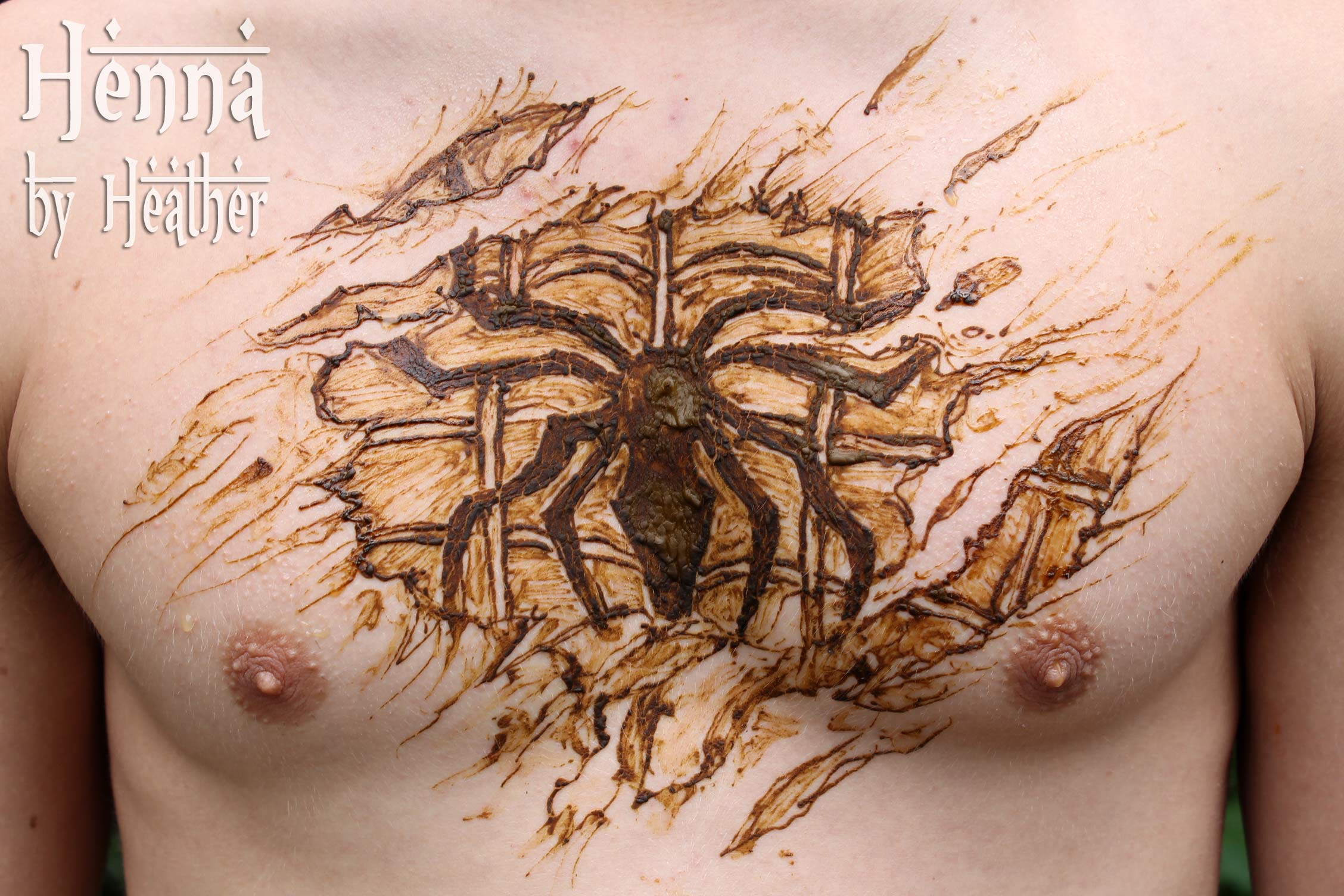 Henna Spider Tattoo On Man Chest