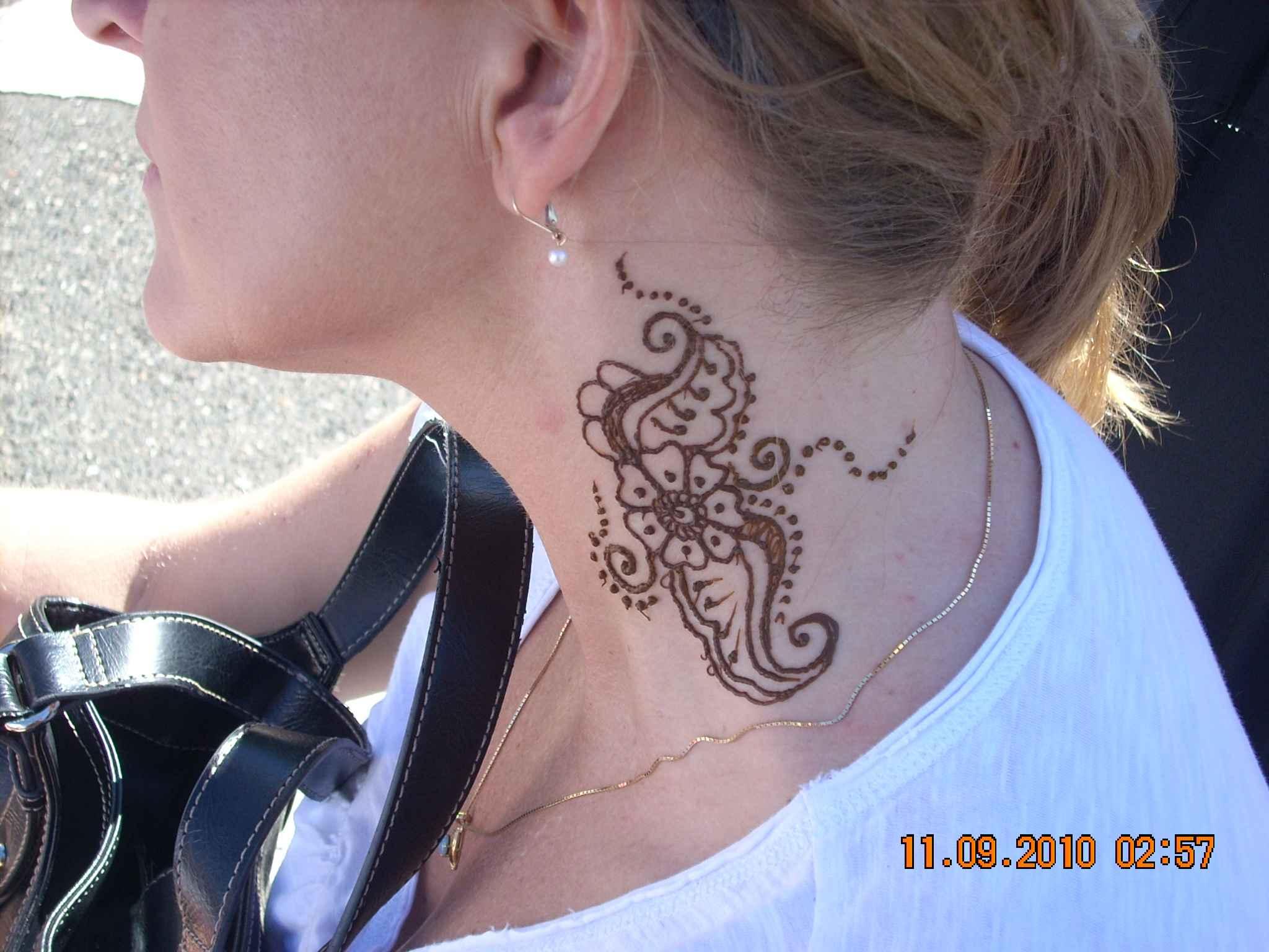 Henna Tattoo On Girl Side Neck