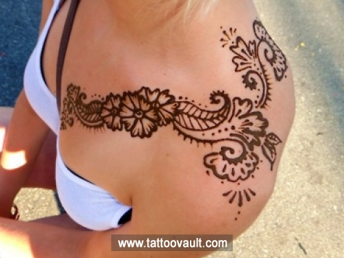 Mehndi Tattoo Designs For Upper Arms : Henna tattoo on left upper shoulder