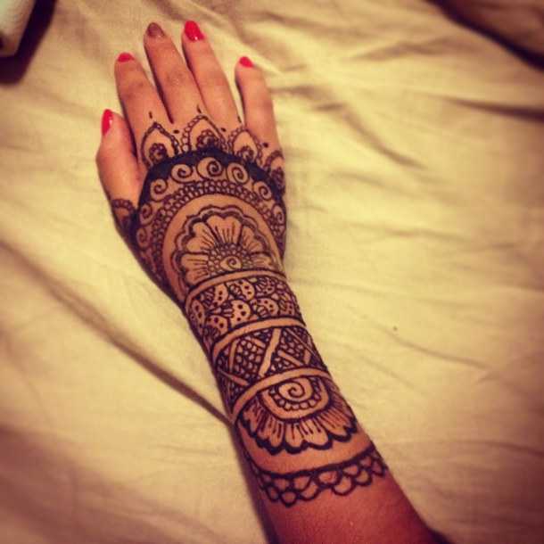 Henna Tattoo On Right Arm For Girls