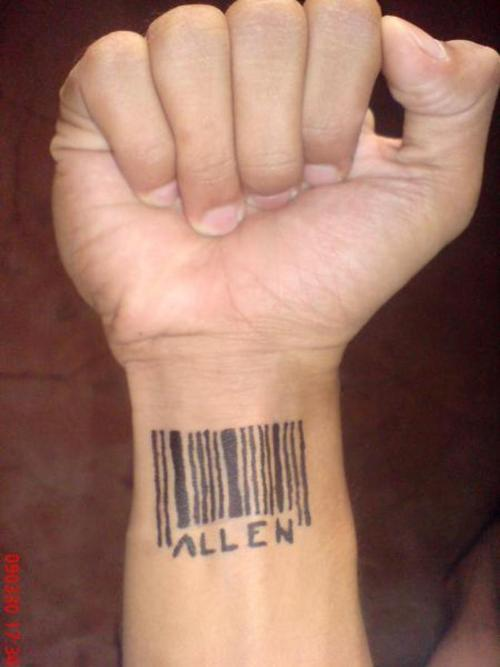 Allen Henna Barcode Tattoo On Wrist