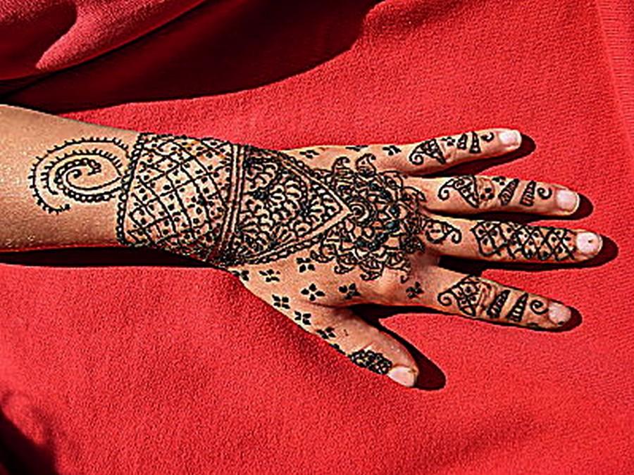 Red Henna Tattoo Hand