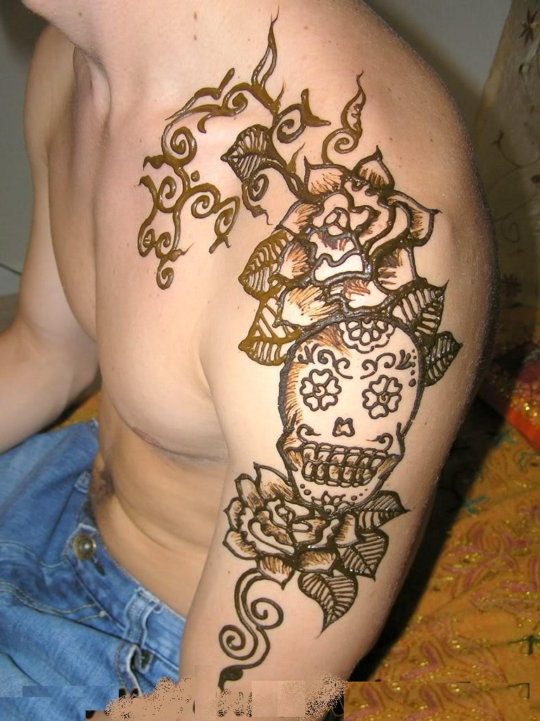 Henna Tattoo On Man Left Sleeve