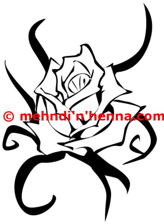 Tribal And Rose Flower Henna Tattoo Design