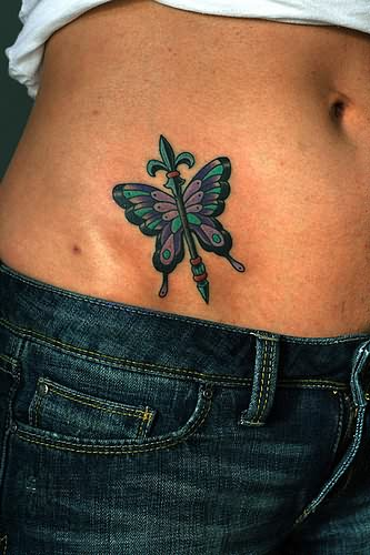 Fleur De Lis Tattoo On Belly