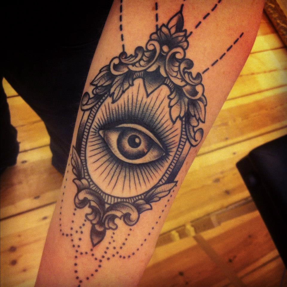Awesome Grey Ink Illuminati Eye Tattoo On SleeveIlluminati Tattoo Sleeve