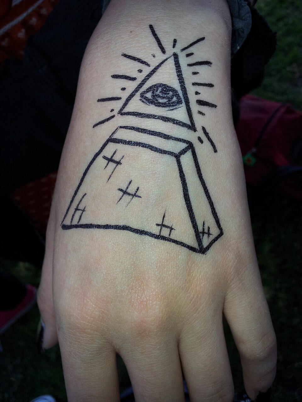 Best Illuminati Eye Tattoo On Left Hand