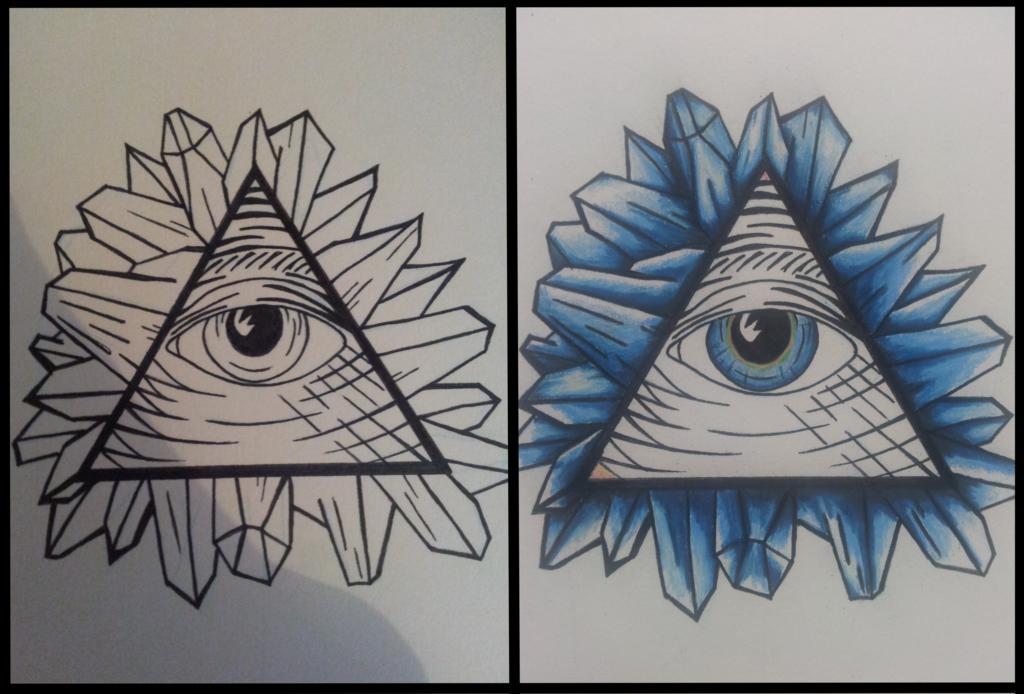 Blue Ink Illuminati Eye Tattoo Design