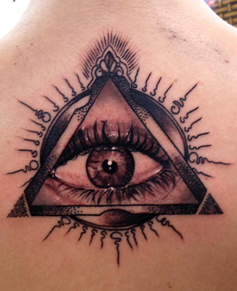 Illuminati eye tattoo images designs for Cross tattoo under left eye meaning