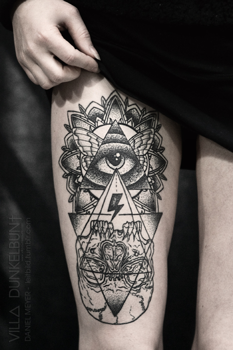 Illuminati Eye Tattoo Meaning Thigh Tattoos
