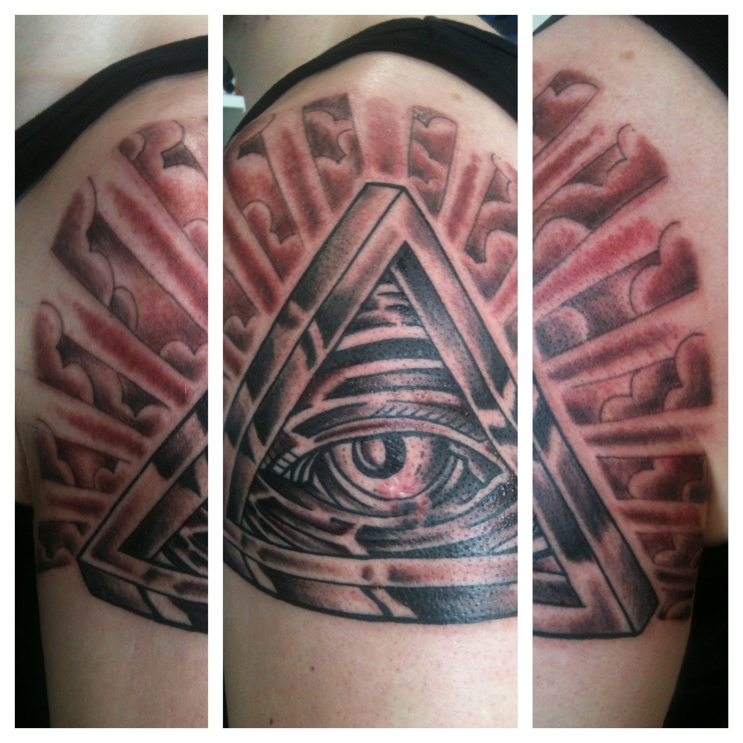 Grey Ink Illuminati Eye Tattoo On Left Half SleeveIlluminati Tattoo Sleeve