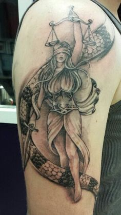Grey Ink Lady Justice Tattoo On Right Half Sleeve